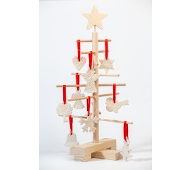 Xmas3 XS2 wooden tree with  SnowClayLace  ornaments