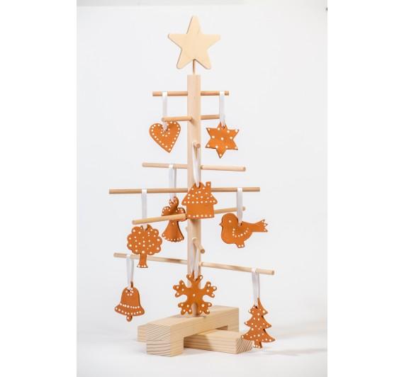 Xmas3 XS2 leseno božično drevo   z okraski  Terracotta